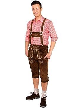 Bayerische Trachten-Lederhose mit Trägern aus Veloursleder in dunkelbraun für das Oktoberfest
