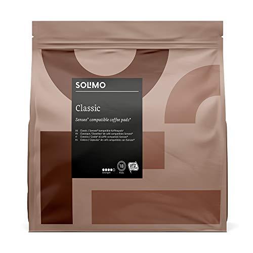 Marca Amazon- Solimo Cápsulas Classic , compatibles con Senseo*- café certificado UTZ, 90 cápsulas (5x18)