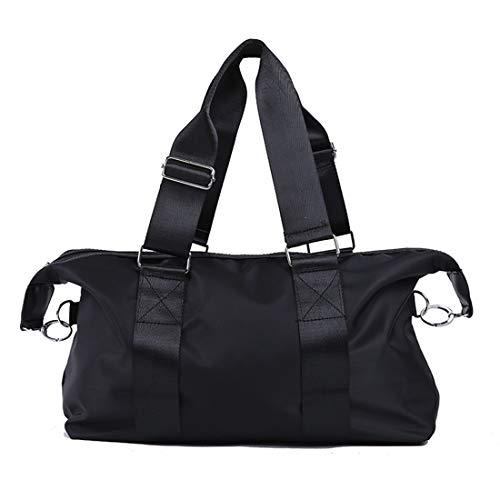 Karidesh Gepäck Sporttasche Wasserdicht Große kapazität Handtasche Oxford Tuch Nylon Diagonal Paket Reisetasche Kurzstrecke Business Travel Paket Große Weibliche Seesack (Color : Black, Size : S) -