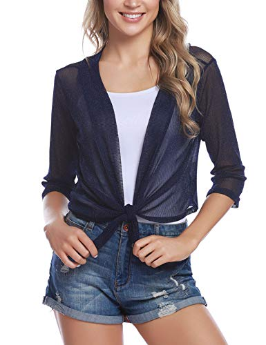 iClosam Damen Bolero Sommer Kurz Cardigan Strickjacke 3/4 Ärmel Elegant Blazer top. (Blau, S) Kurze Jacke