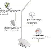 Gleading Lámpara de Escritorio LED con Cuello Flexible Lámpara de Mesa Recargable Portátil para Estuido Lectura y Sueño, Protección para los Ojos, 14 LED 3 Niveles de Brillo -Blanco