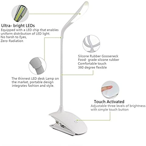 Gleading Lámpara de Escritorio LED con Cuello Flexible Lámpara de Mesa Recargable Portátil para Estuido Lectura y Sueño, Protección para los Ojos, 14 LED 3 Niveles de Brillo