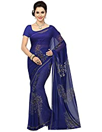 Ishin Women's Faux Georgette Saree With Blouse Piece (Ishinsb-Dd-8204, Navy Blue, Free Size)