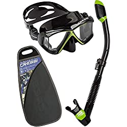 Cressi Pano4&Dry Kits Máscara Tubo, Unisex Adulto, Negro/Verde, Talla Única