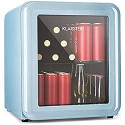 Klarstein Poplife Nevera de Bebidas • Mini Bar • Nevera Retro • 0-10°C • Solo 39 dB • Protege el Medio Ambiente • Puerta con Cristal Doble • Diseño Retro • Azul