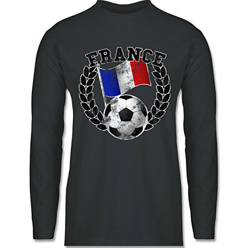 EM 2016 - Frankreich - France Flagge & Fußball Vintage - Longsleeve / langärmeliges T-Shirt für Herren Anthrazit