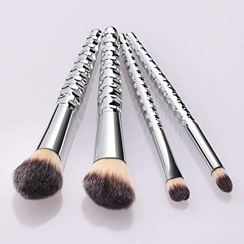 QHJ Pinceaux Maquillage Cosmétique,4 Pcs Cosmétique Brush Beauté Maquillage Brosse Makeup Brushes Cosmétique Fondation (Argent)