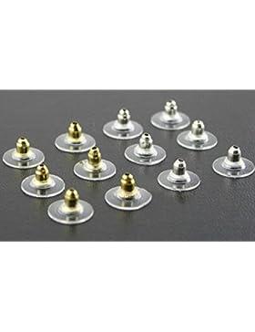 2 Stück Verschluss Ohrstecker Ersatz Silikon (Silber)