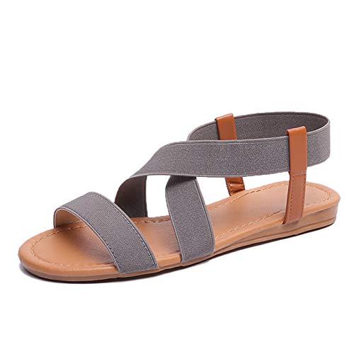 CARETOO Damen Sandalen Sommer Leder Flach Slipper Zehentrenner Römersandalen Elastisch Schuhe Casual Elegant (Casual Schuhe Frauen)