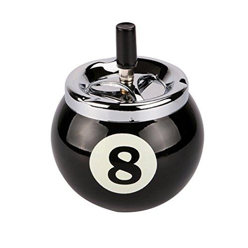 Moderne Metall-basis (VORCOOL Aschenbecher für Zigaretten Push Down no. 8Aschenbecher BILLARDKUGEL-ohne Basis aus Metall für Raucher Schublade für Asche für Innen oder Außen (schwarz))