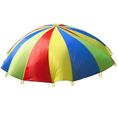 (XuBa Fallschirm-Spielzeug für Kinder, Regenbogen-Regenschirm, Spielzeug, Jump-Sack Ballute für Kinder 4m)