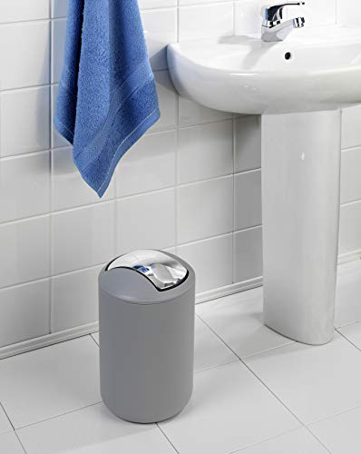 Wenko 22250100 Kosmetikeimer Brasil L absolut bruchsicher Fassungsvermögen 6,5 L, Thermoplastischer Kunststoff TPE, grau, 19,5 x 19,5 x 31 cm - 3