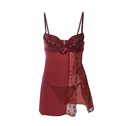 LANSKIRT _ Lingerie nuisette femme Lingerie Sexy Femme, Guepiere Sexy Lingerie Ouvert Transparente Nuisettes deshabillés Robe de Nuit sous-vêtements Sexy (XL, Bourgogne)