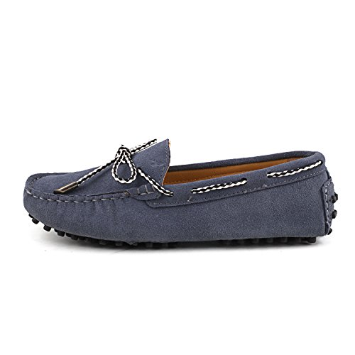 Shenduo Classic, Mocassins femme daim - Loafers multicolore - Chaussures bateau & de ville confort D7051 Gris