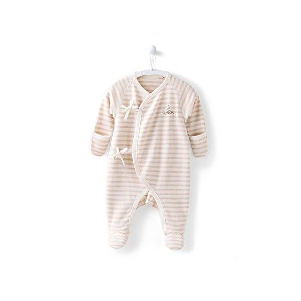 COBROO - Pijama para bebé de 0 a 6 meses con manoplas, estampado de nubes para bebé, con cierre de lazo, 100% algodón… 1