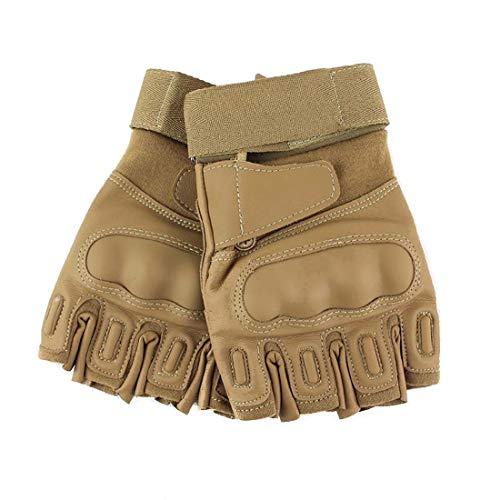 GSAYONEE Im Freien Schwarze Falke-Shell-Taktische halbe Finger-Handschuhe Bergsteigen-Eignungs-Reitsport-Handschuhe (Color : Sand, Size : M)