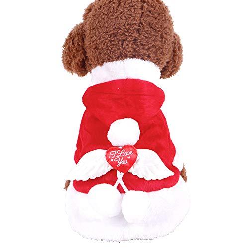 Decken warme Haustierkleidung, Haustier Hund weich warm Plüsch Kleidung Jumpsuit Hoodie Herbst Winter Mantel für Kleine Welpen Hunde Kleidung kalte Wetter Hund Engel Flügel (Engel Flügel Kostüm Für Hunde)