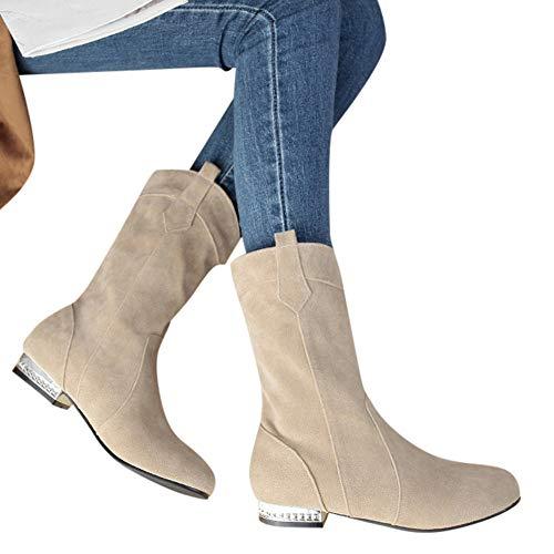Preisvergleich Produktbild TianWlio Stiefel Frauen Herbst Winter Schuhe Stiefeletten Boots Mittlere Röhre Baumwollstiefel Flach mit Schuhen Wild Warm Boots Boots Beige 40