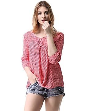 [Patrocinado]Pau1Hami1ton G-05 Blusas Mujer Manga 3/4 Camisa Casual Tops T-Shirts