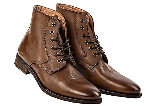 Replay Herren Leder Schuhe, Men Craig Stiefeletten Stiefel Größe 41-46 - Braun: Größe: 44 (10