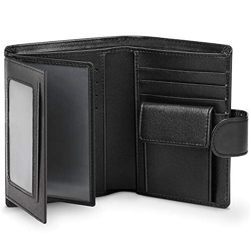 Portefeuille Homme CuirSpacieux Wilbest Porte Monnaie Homme en Format Portrait avec Blocage RFID, 11 Emplacements pour Cartes, 3 Fenêtres Transparentes, 2 Compartiments à Billets, Pièce de Monna