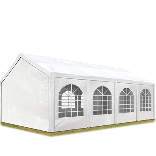TOOLPORT Hochwertiges Partyzelt 4x8 m Pavillon Zelt 240g/m² PE Plane Gartenzelt Festzelt Bierzelt Wasserdicht weiß Modell 2018