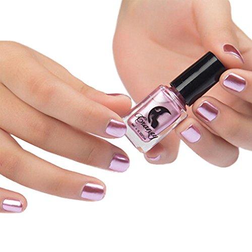 Nagellack, HARRYSTORE 6ML Spiegel Stil Nagellack Überzug Silber Farbe Paste Metall Farbe Edelstahl Spiegel Nagellack für Nail Art (Rosa) (Baby Flaschen Unter $2)