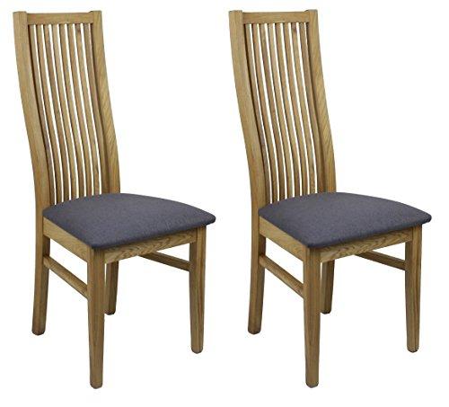 2Stück Stühle Esszimmer–Sitz aus tissu- Struktur Holz, Eiche massiv–Ideal Mahlzeiten & Rezeption–Collection Lucciana anthrazit (Stuhl 2 Eiche Stück)