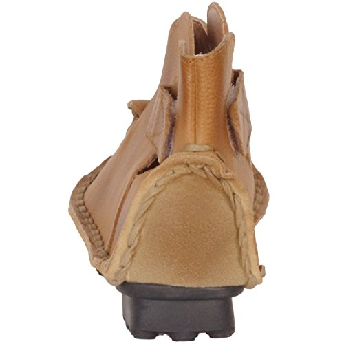 MatchLife Femme Vintage Cuir Chaussures Plates Sandales Style3-Abricot