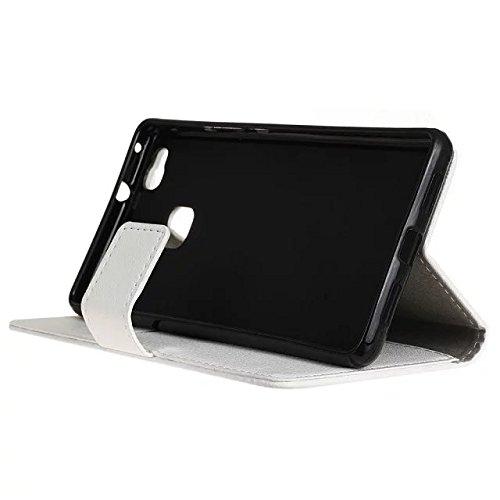 Solid Color Kas Textur Muster Leder Schutzhülle Case Horizontal Flip Stand Case mit Kartennuten für Huawei P9 LITE ( Color : Black , Size : Huawei P9 LITE ) White