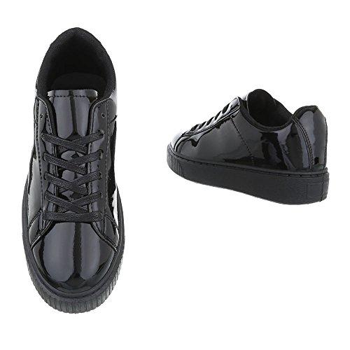 Low-Top Sneaker Damenschuhe Low-Top Sneakers Schnürsenkel Ital-Design Freizeitschuhe Schwarz KK-66