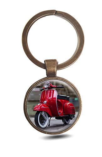 Meisterhandel Die Vespa,Classic Art - Das Original, Schlüsselanhänger Rund 3 cm (rot, alt Messing) - Messing Classic 3