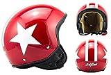 SOXON SP-301-STAR Red Motorrad-Helm Roller-Helm Jet-Helm Bobber Scooter-Helm Pilot Cruiser Vintage Mofa Chopper Helmet Biker Vespa-Helm Retro, ECE zertifiziert, inkl. Stofftragetasche, Rot (Star), XL (61-62cm)