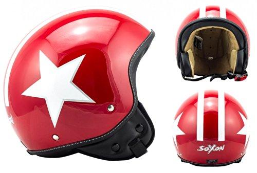 SOXON SP-301-STAR Red Casco Demi-Jet Chopper Cruiser Biker Mofa Helmet Urbano Bobber Vintage Retro Scooter Piloto Moto Motocicleta Urban Vespa, ECE Certificado, Incluyendo Bolsa de Casco, Rojo/Blanco, S (55-56cm)