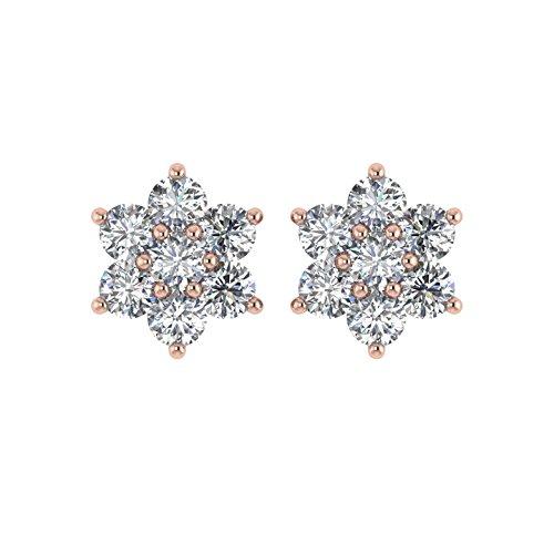 Diamant Delight Veste de 10K boucles d'oreille Clous en forme de fleur (vvs1-vvs2, 1carat)