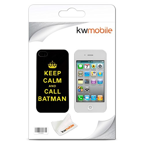 kwmobile Étui rigide Design Keep Calm Call Batman pour Apple iPhone 4 / 4S en jaune noir Keep Calm Call Batman jaune noir