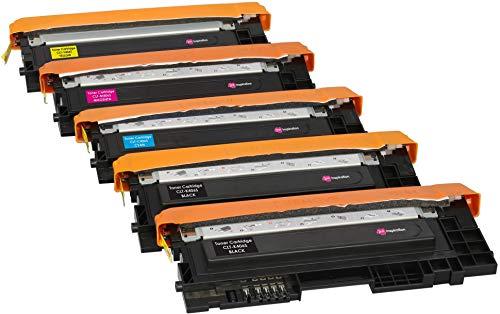 5er Set Premium Toner kompatibel für Samsung Xpress SL C410W C460FW C460W C467W CLP-360 CLP-365 CLP-365W CLX-3305 CLX-3305FN CLX-3305W CLT-406S | Schwarz 1.500 Seiten & Color je 1.000 Seiten -