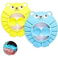 Kitchen-dream Gorro de Ducha Bebé, 2pcs Ajustable Impermeable Champú Caps Shield, Protección para niños Sombrero de orejera para el cuidado del bebé para niños pequeños -Amarillo, Azul