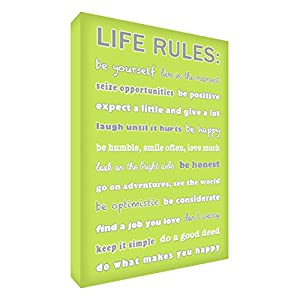 Feel Good Art Life Rules Gallery Wrapped Box Canvas with Solid Front Panel (60 x 40 x 4 cm, Lime Green)