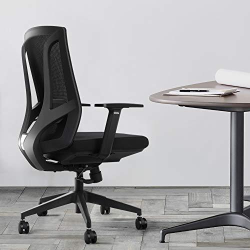 ANGEL QUEEN Bürostuhl Chefsessel ergonomischer Drehstuhl mit Armlehne Sitzhöhenverstellung Office Stuhl Belastbar bis 200kg, Schwarz