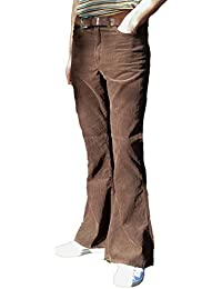 Fuzzdandy Mens Brown Corduroy Bell Bottoms Flares Trousers High Rise 60s 70s Indie MOD Hippie Pants