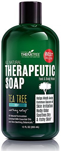 Oleavine Antifungal Soap With Tea Tree Oil & Neem 12Oz Therapeutic Foot & Body Wash 100% Natural Care & Defense Against Skin Irritation.
