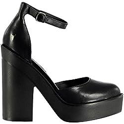 Windsor Smith Damen Leder Schuhe Absatz Plateau Fesselriemen Schnalle Schwarz 4 (37)