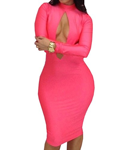E-Girl Rose ovale creux-out avant Bodycon Sexy robe,Rose Rose