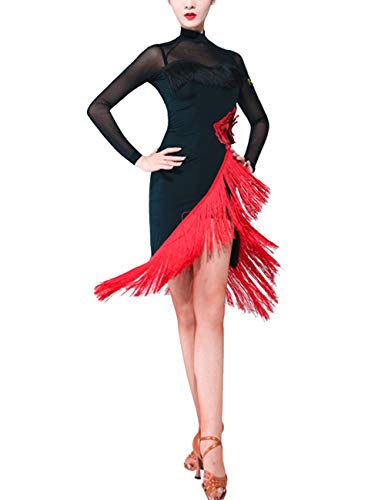 SPDYCESS Damen Tanzkleid Elegante Latein Kleid Lange Ärmel - Tango Rumba ChaCha Kostüm Wettbewerb Ballsaal Quaste Tanzkleidung Karneval Performance Abendkleid (Ballsaal Tanz Kostüm Tango)
