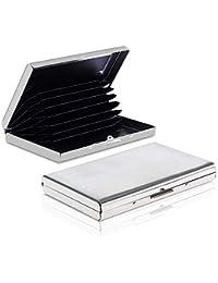 Dahsha 8 Slot RFID Blocking Credit Or Debit Card Holder Wallet Stainless Steel Card Case for Men Women - Silver