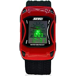 ALPS Kids LED Digital Kids Car Sports Waterproof Watches (Red)