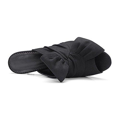 GJDE Signora in Sandali Tacco Testa di Pesce Estate e Tacchi arco di lino Pantofole Stiletto Plateau Materiali Personalizzati Black