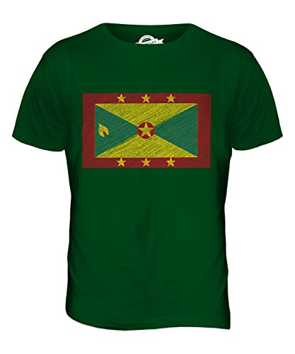 CandyMix Grenada Kritzelte Flagge Herren T Shirt Flaschengrün