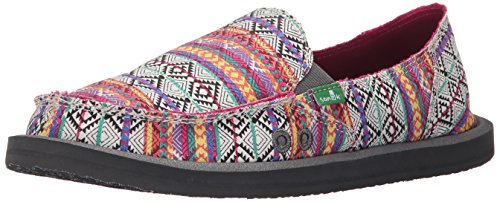 Sanuk Shoes–Sanuk Fiona Boat Shoes–Charcoal Magenta Multi Tribal